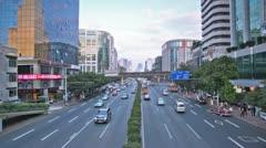 Ten lane street with traffic seen from a bridge Stock Footage