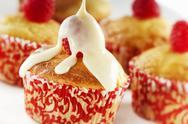 Vanilla Cupcake with Raspberry and Condensed Milk Stock Photos