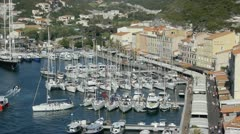 Boats in bonifacio harbour Stock Footage
