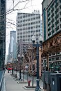 chicago skyline and streets - stock photo