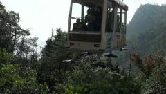 Arriving cable car with tourists on the island of Miyajima, Japan Stock Footage