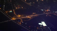Night view of the highway over river and island aerial view Stock Footage