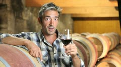 closeup of winemaker talking to camera in winery - stock footage