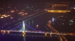 Aerial night view of Jiefang bridge across Pearl river Stock Footage