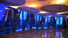 Skyscraper floor view at night illuminated in different colors Stock Footage