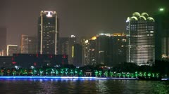 Beautiful night aerial view of the Pearl river and city Stock Footage