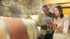 Winemaker talking to client in winery Stock Footage