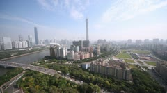 Panorama of Guangzhou in a sunny morning aerial view Stock Footage