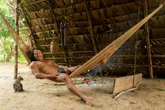 Amazonian Indigenous Huaorani Male Spending Time In His Hammock Waorani Reserve Stock Photos