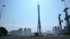 Haixinsha island square with fountains and tower daylight Stock Footage