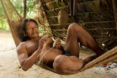 Amazonian Indigenous Huaorani Weaving Focus On Face Waorani Reserve Yasuni - stock photo