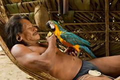 Huaorani Male Grooming His Parrot Waorani Reserve Yasuni National Park Ecuador - stock photo