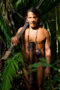 Typical Huaorani Hunter Portrait Waorani Reserve Yasuni National Park Ecuador - stock photo