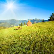 summer mountain village outscirts - stock photo