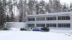 Entrance view of the Y. Gagarin training center Stock Footage