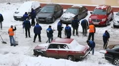 Workers cleaning the street of snow in Moscow Stock Footage