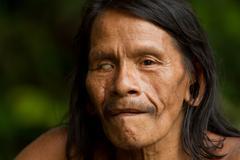 Huaorani Male Portrait Waorani Reserve Yasuni National Park Ecuador Stock Photos