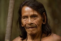 Huaorani Male Portrait Waorani Reserve Yasuni National Park Ecuador - stock photo