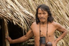 Stock Photo of Huaorani Male Portrait Waorani Reserve Yasuni National Park Ecuador