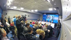Press conference before Gomelsky Cup in RIA Novosti Stock Footage