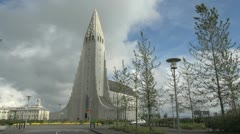 Iceland Reykjavik cathedral s2 Stock Footage