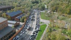 Day traffic in Bogorodskoe neighborhood in Moscow. Time lapse Stock Footage