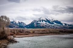 Stock Photo of rocky mountains at yellowstone river