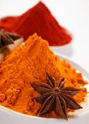 Curry powder and paprika, star anise Stock Photos