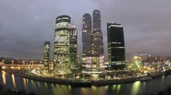 Moscow City panorama in the evening, time lapse Stock Footage