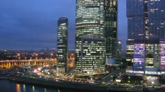 Moscow City panorama at evening, left side view Stock Footage