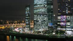 Moscow New City night view from the left Stock Footage