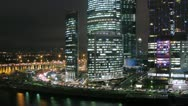 Stock Video Footage of Moscow New City night view from the left