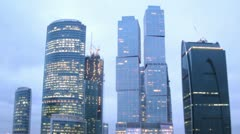 Top of New City in Moscow Center at evening Stock Footage
