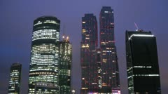 The New City center night view in Moscow Stock Footage