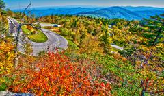 Winding curve at blue ridge parkway Stock Photos
