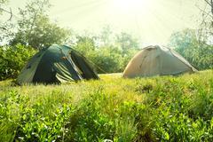 Tent on grassland Stock Photos