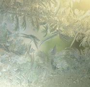 frozen window - stock photo