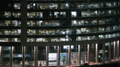 Naberezhnaya Tower zoom at night in New City Stock Footage