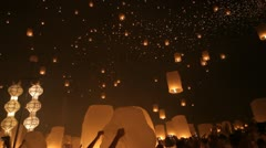 Launching fire lanterns for Loy Krathong - stock footage