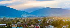 Stock Photo of summer sunset country panorama.