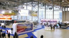 Visitors are on Expocitytrans exhibition. Stock Footage