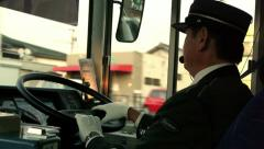 Tokyo Bus drive - driver close up - HD - stock footage
