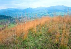 autumn mountain country landscape (carpathian, ukraine). - stock photo