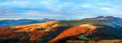 Autumn evening mountain plateau landscape Stock Photos