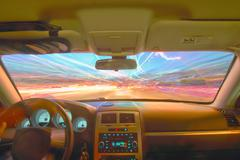 traveling at speed of light - stock photo