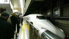 Tokyo Bullet Train arriving in station - HD - stock footage