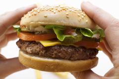 Hands holding cheeseburger - stock photo