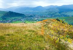 Autumn mountain country landscape (carpathian, ukraine). Stock Photos