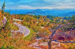 winding curve at blue ridge parkway - stock photo