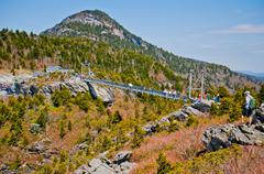 autumn view of grandfather mountain from beacon heights trail, blue ridge par - stock photo